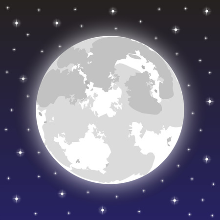 moon in the night sky with stars