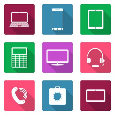 multi media: Icone di design piatto. Dispositivi elettronici Vettoriali