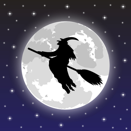 silhouette of a witch on a background of the full moon Vector