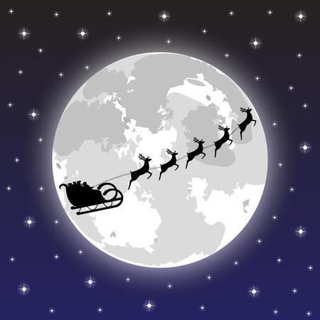 Kerstman rijdt op herten in de nacht Stock Illustratie