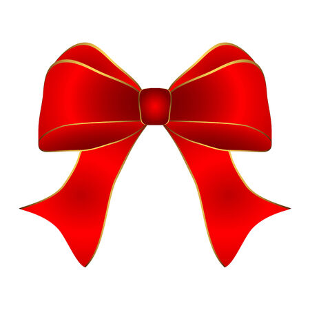 white trim: Red bow with gold trim on a white background
