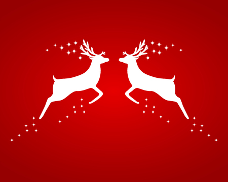 hoofed mammal: Reindeer silhouettes on a red background