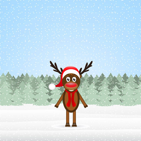 reindeer in the winter forest Christmas Vector