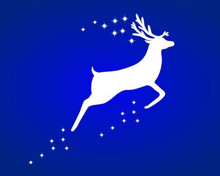 hoofed mammal: Reindeer with stars Illustration