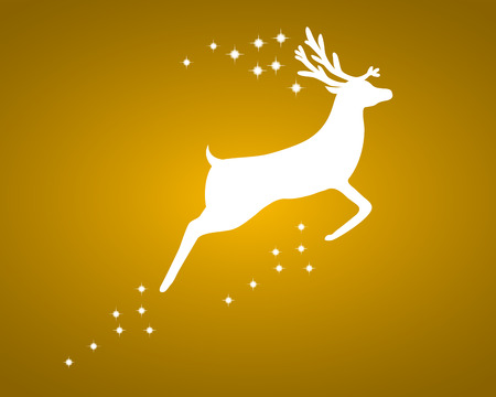 horny: Reindeer with stars on gold background