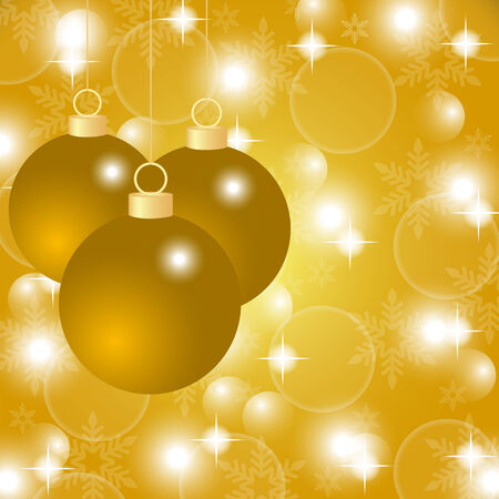 Gold Christmas background with Christmas balls Vector