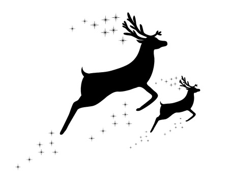 hoofed mammal: silhouette of a reindeer with a cub