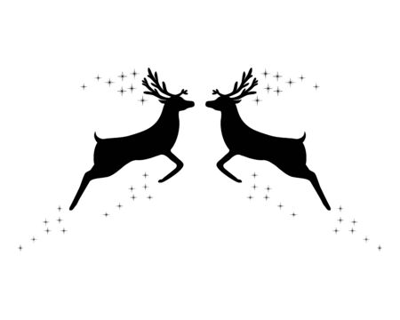 Two reindeer with stars Vector