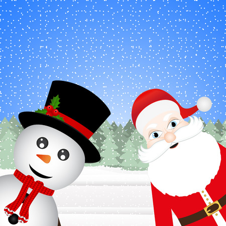 Snowman and Santa Claus in a Christmas forest Vector