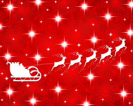 Santa Claus rides in a sleigh reindeer on red background Vector