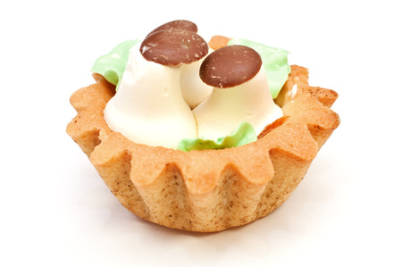 Cake basket with cream photo