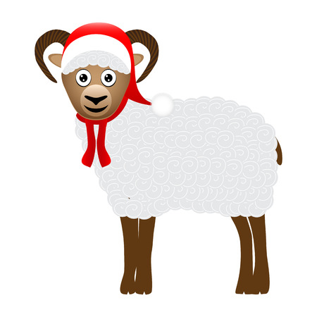 Christmas sheep on white background Vector
