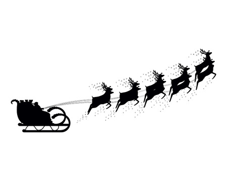deer silhouette: Santa Claus rides in a sleigh in harness on the reindeer Illustration