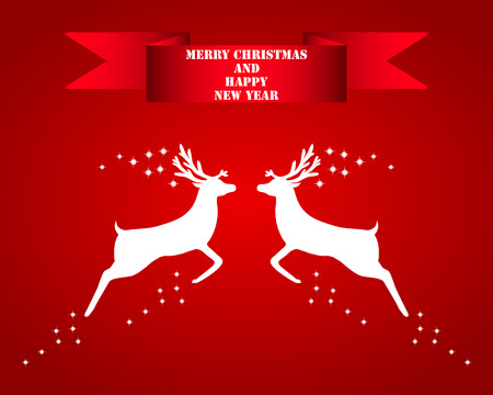 dignified: Reindeer silhouettes on a red background