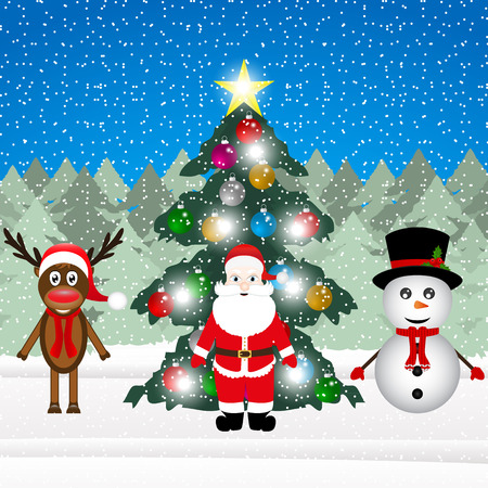 sata: Sata Claus, a reindeer and a snowman near a decorated Christmas tree in the forest