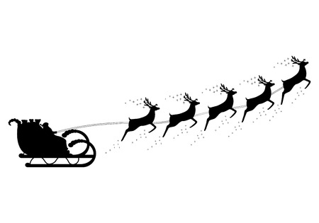 santas sack: Santa Claus rides in a sleigh in harness on the reindeer Illustration