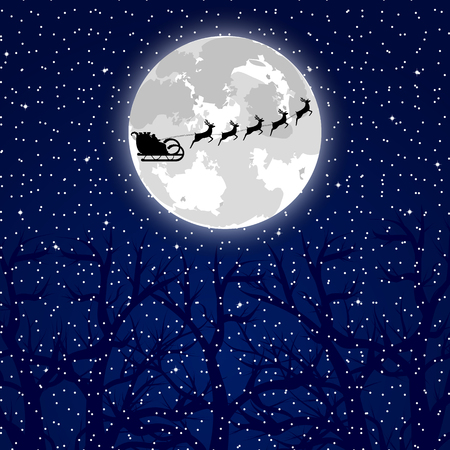 santa sleigh: Santa Claus riding on a reindeer on a background of the full moon in the forest