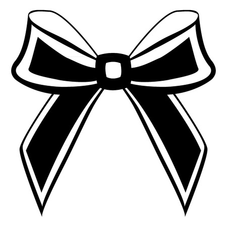 burgundy ribbon: silhouette of a bow on a white background Illustration