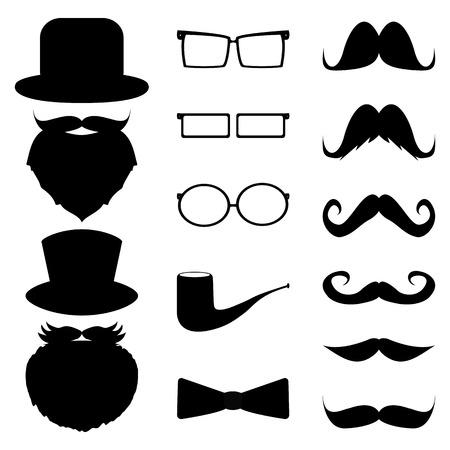 sideburns: Set mustache, hats, glasses,