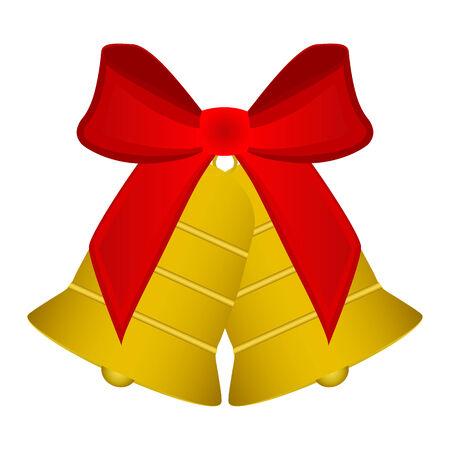 campanas de navidad: Campanas de Navidad con lazo rojo