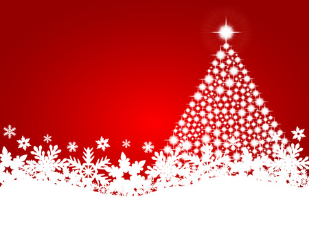 Red christmas background with shiny Christmas tree