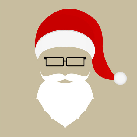 hat santa: Santa hat, mustache, beard and glasses