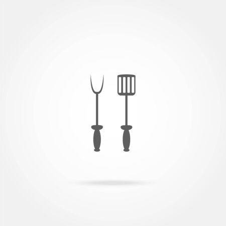 heatproof: spade and fork for grill icon