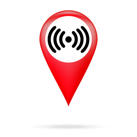 wi fi icon: Wi fi icon in red pointer Illustration