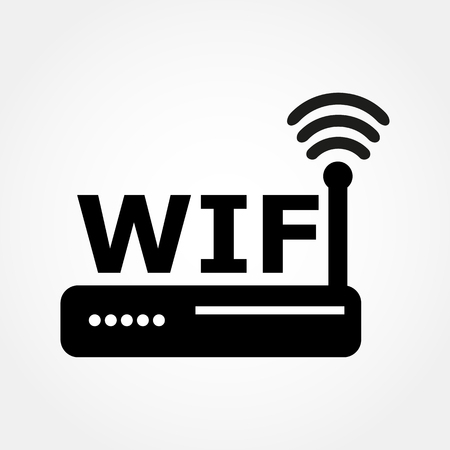 wi fi icon: router and Wi fi icon Illustration