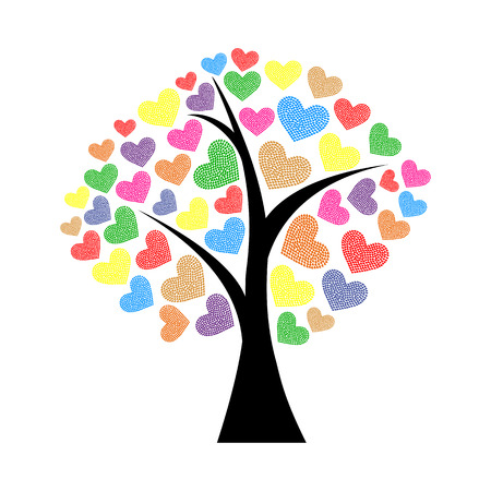 branch silhouette: tree with hearts Illustration