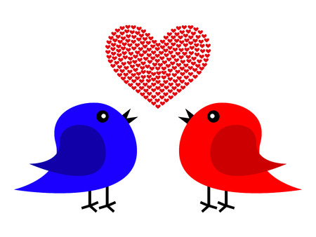 love birds: Two birds and heart Illustration