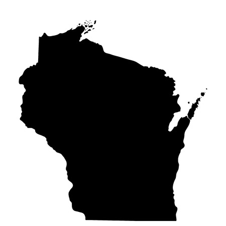 wisconsin flag: map of the U.S. state of Wisconsin Illustration