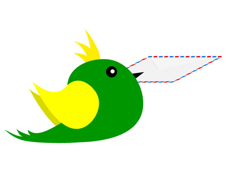 tweets: bird with an envelope in its beak Illustration