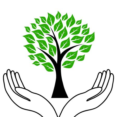 tree in hands Vector