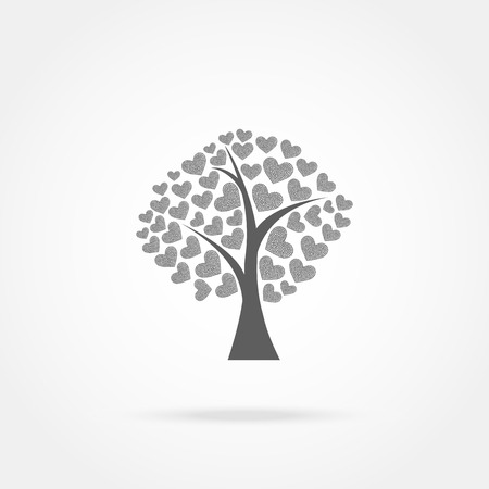 bareness: tree with hearts icon