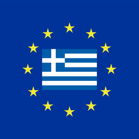 eu flag: Flag of Greece at the EU flag