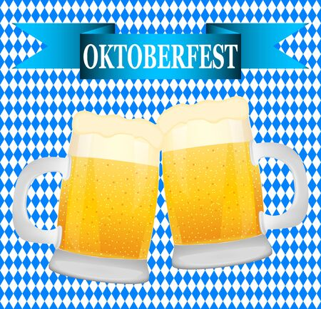 bavarian: beer on background Bavarian flag symbol Oktoberfest