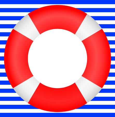lifesaving: life preserver on a background of stripes
