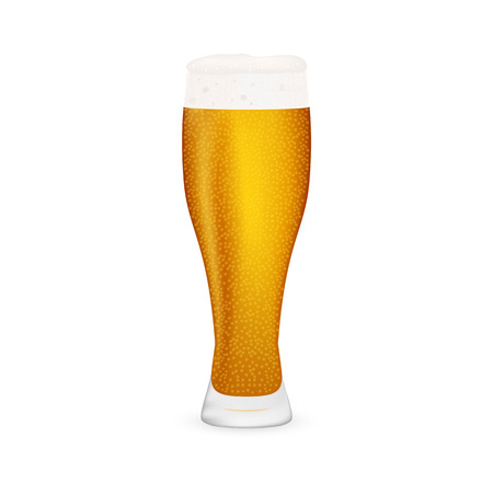 condense: beer on white background