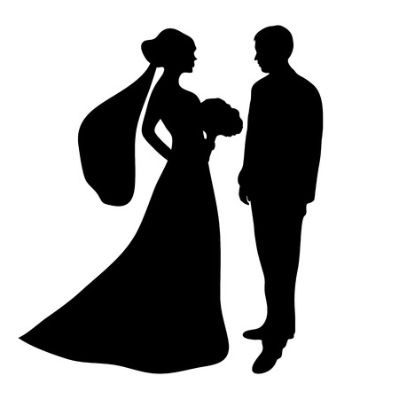 bride and groom illustration: bride and groom silhouette on a white background