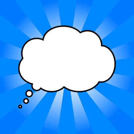 cartoon cloud: cloud of thoughts in blue sun