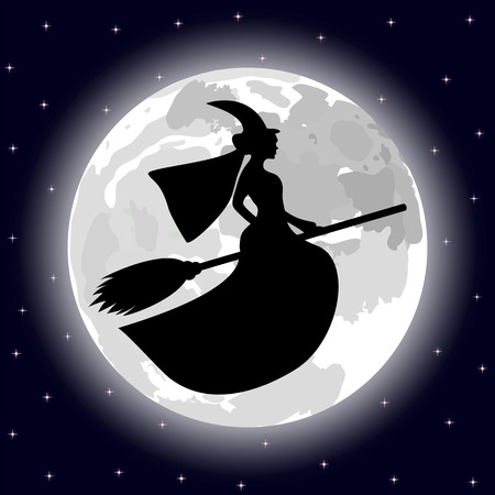 silhouette of a witch on a background of the full moon