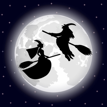 ghastly: two witches on a background of the full moon on Halloween night