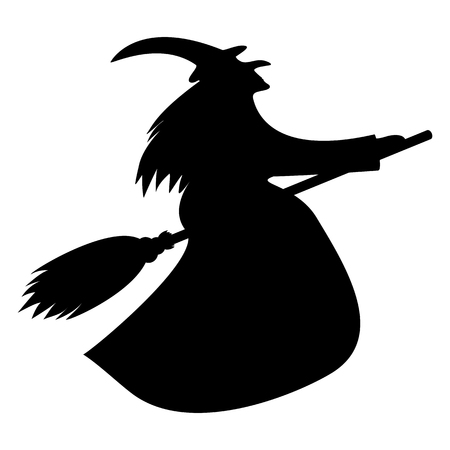 ghastly: silhouette of a witch on a broomstick on Halloween