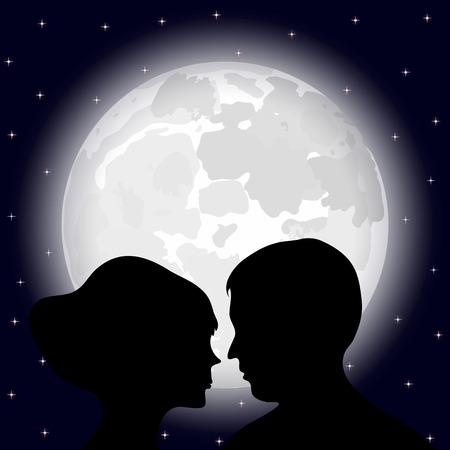 silhouettes of men and women against the background of the full moon