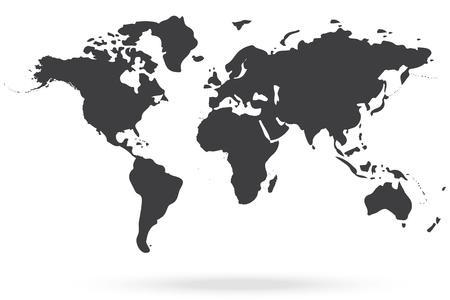 mapa mundi: mapa gris mundo Vectores