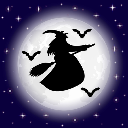 ghastly: silhouettes of witches and bats on a background of the moon