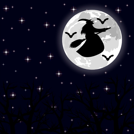 ghastly: witch flying on a broom on a full moon in the forest