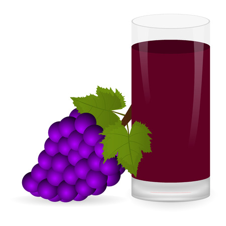 grapes and fruit juice Illustration