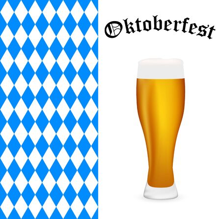 Symbols Oktoberfest beer and Bavarian flag
